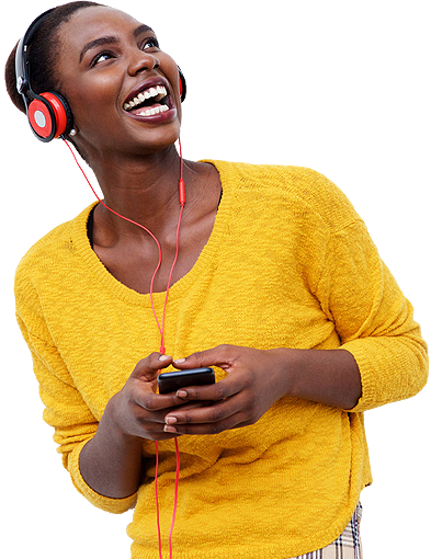woman wearing a headphone and holding a mobile phone